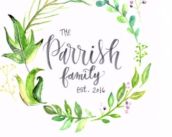 Family name hand made lettered sign
