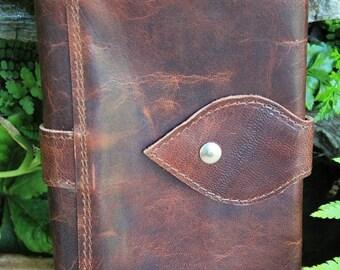 Compagnon en cuir,  grand portefeuille, cuir vintage marron vieilli patiné,