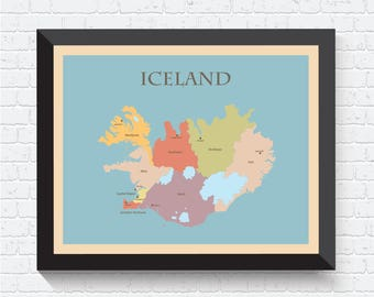 Iceland Map, Iceland Poster, Iceland Print, Iceland Art, Iceland Map Print, Iceland Wall Art, Map of Iceland, Iceland Decor, Iceland