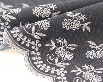 Fabric embroidered scalloped edge on jeans wide 20.5 cm x 50cm