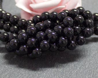x 20 semi precious stone with 6 mm PG56 black agate round beads