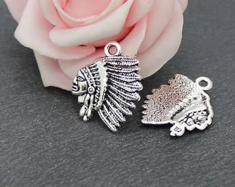 x 10 charms face Indian Chief in silvery metal aged 21 x 18 mm BRA121