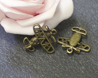 bronze 18.5x12.5 BRB153 mm x 8 metal airplane charms
