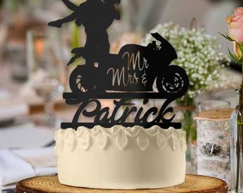 Personalized Motorcycle Couple Mr and Mrs Cake Topper