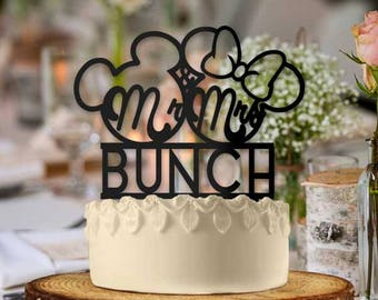 Personalized Mickey and Minnie Mr and Mrs Outline Wedding Cake Topper