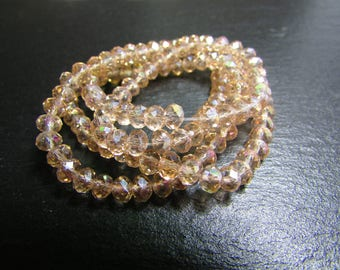 set of 30 Crystal champagne iridescent 4 mm beads