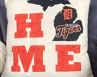 Homemade Detroit Tigers Michigan Pillow Cover