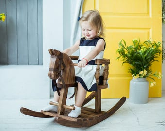 Wooden Rocking Horse Kids Wooden Rocking Chair British Rocking Horse  Christmas Gift For Kids Wooden Ride