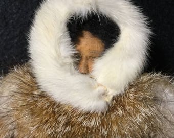 Amazing Alaska Artisan Doll Figure made of Suede , Fur & Wood