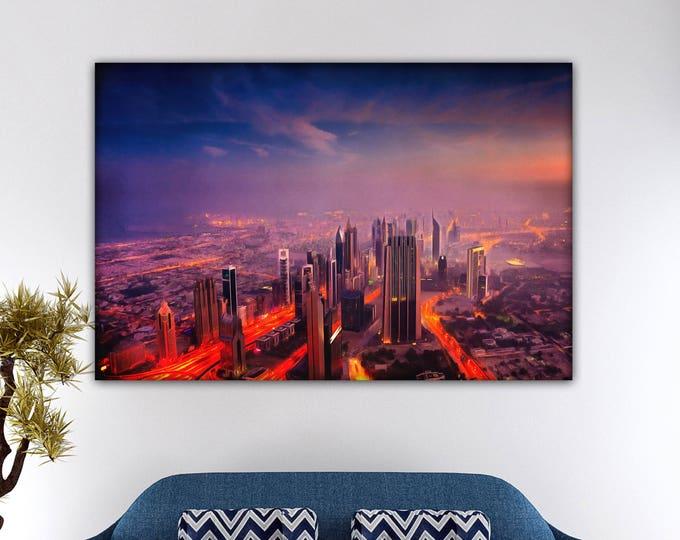 Dubai at sunrise, Arabian Emirates Poster, canvas, Interior decor, print poster, Arabian picture, art picture, gift