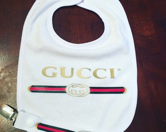 Designer inspired bib and pacifier clip