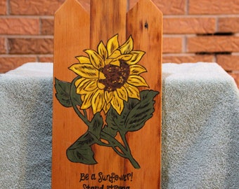 Pyrographic Art Burn and Painting of a Sun Flower