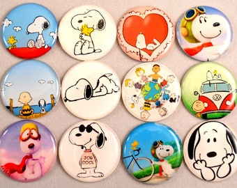 "12 pcs. PEANUTS SNOOPY 1"" cabochons, bottle cap domes, hair bow centers, jewelry, kids crafts.  So cute!"