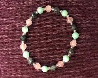Rose Quartz, Labradorite, Quartzite Bracelet