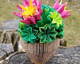 Cactus Origami on bookfold sculpture - succulent - mother's day gift