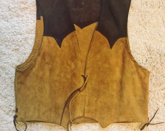 Vintage 1960s 1970s Native American Southwestern Hippie Biker Suede Vest