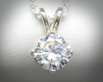 Diamond Simulant Necklace Man Made 2.0 ct Sterling Silver Pendant Jewelry Birthday Bridal Alternative Wedding Gift April Birthstone P41N