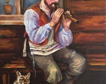Jewish Flute Musician by Olga Magazanik