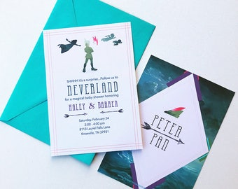 Peter Pan Baby Shower, Peter Pan Invitation, Peter Pan Birthday Invitation, Peter Pan & Wendy, Vintage Peter Pan, Disney Peter Pan