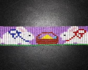Easter Bunnies Beaded Bracelet