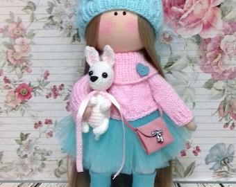Textile doll Tilda doll Interior doll Handmade doll Turquoise doll Soft doll Art doll Cloth doll Pink doll Fabric doll Rag doll Baby