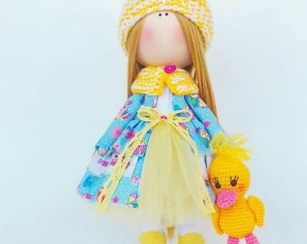 Tilda doll Interior doll Handmade doll Soft doll Textile doll Art doll Cloth doll yellow doll Fabric doll Rag doll Baby
