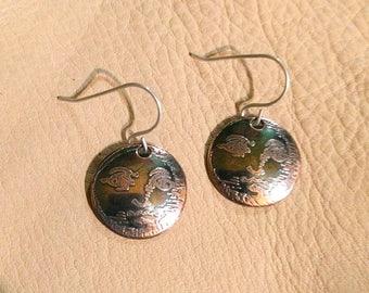 Man in the Moon copper earrings, Etched copper drop earrings, InnerSunCreations