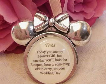 Custom made BRIDAL Bouquet MINNIE MOUSE charm Personalised Wedding Flower Girl Thank you gift present