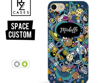 Space Phone Case, Personalized Case, iPhone 7 Case, Planets Case, Gift for Her, iPhone 7 Plus, iPhone 6S, Personalized Gift, Custom Case