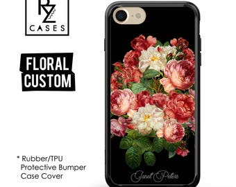 Personalized Case, Floral Phone Case, Custom Phone Case, iPhone 7 Case, iPhone 6s, Floral iPhone, iPhone 5, Rubber, Bumper Case