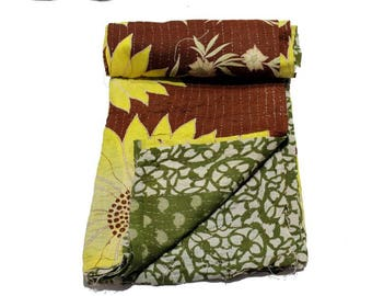Vintage Kantha Quilt Gudri Reversible Throw Twin Handmade Quilt Blanket Q35
