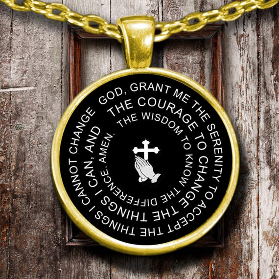 Serenity prayer pendant necklace 18k gold or sterling silver like this item mozeypictures Images