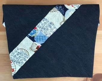 Japanese-inspired Patchwork Denim Pouch/Pochette with magnetic snap closure | Handmade