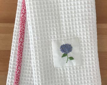 Handmade hand towel with Hydrangea motif hand-embroidered by Apples N' Thyme