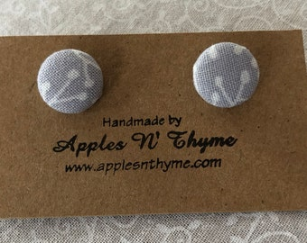 "Fabric button earrings | White Vines on Light Grayish Blue | Surgical Stainless Steel Earring Posts | 1/2"" button size"