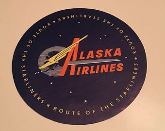 Vintage Alaska Airlines Baggage Label - Route of the Starlights