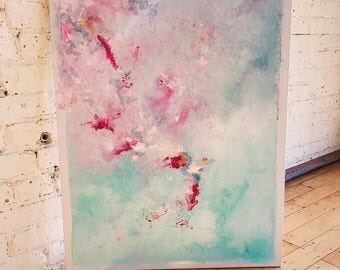 Dancer - Abstract Oil Painting - Art - Wall Art - Canvas - Pink - Blue