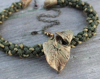 Timber necklace, Elenzima, Free shipping, polymer clay, leaf