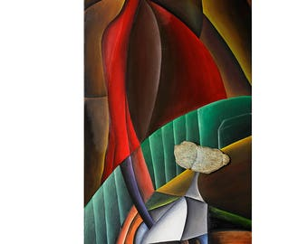 Stroll by Cesar Vazquez | Cubism | Surrealism | Abstract | Contemporary Art | Sea Stone | 3D Painting | Pet