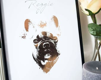 Rose Gold Personalised Pet Portrait A5 A4 A3