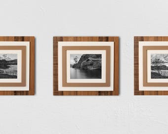 SET of 2 or 3: Rustic Four Tiered Wooden Mat Frame - rustic frame, wooden frame, custom frame, reclaimed wood frame, wood matting frame