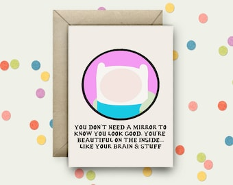 Adventure Time Pop Art and Quote A6 Blank Greeting Card with Envelope