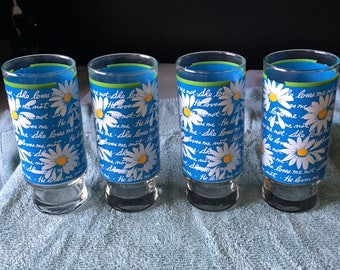 4 Blue She Loves Me Not Glasses - vintage from the 70's