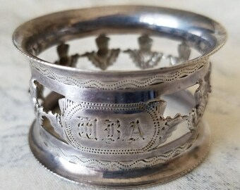 1904 Silver Scottish Thistle Napkin Ring Hallmarked and Monogrammed