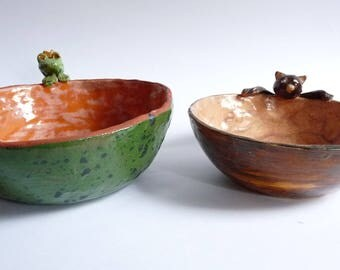 Vintage Clay Bowls Frog and Cat Handmade Pottery Serving Soup Dish Rustic Wabi Sabi
