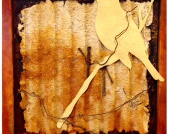 Yellow Warbler -  Handmade paper mounted on steel