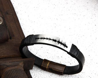 Sound Wave bracelet, Leather bracelets, Customised gift, Gift for him, Gift for her, Message on bracelet, Anniversary gift,Birthday gift