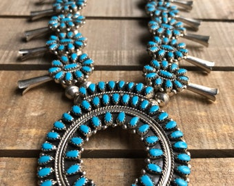 Vintage Native American zoomy handmade sterling silver and turquoise squash blossom
