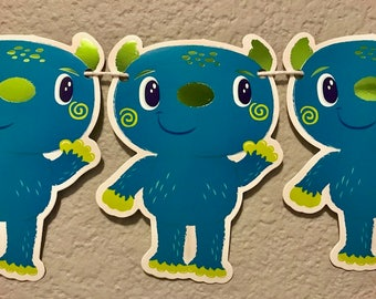 Happy Monster Banner, Blue, Green, Party Decorations, Party Supplies, Party Sign, Garland, Streamer, Kid's Birthday Party, Classroom Decor