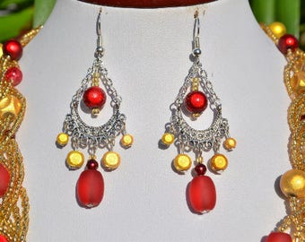 Gold Earrings / red and silver